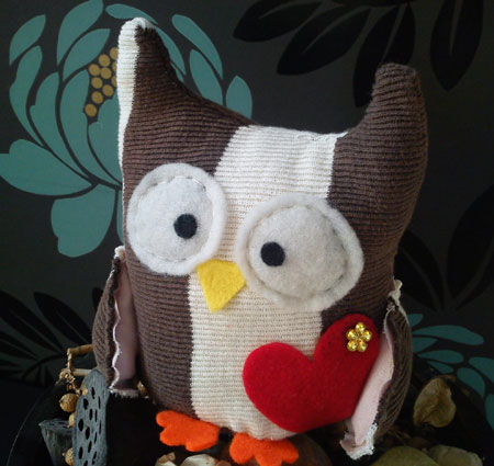 Striped Fabric Owl Plushie
