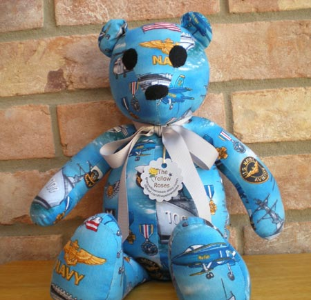 Navy Fabric Teddy Bear