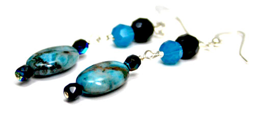 Agate and Swarovski Earrings