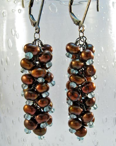 Copper Pearls and Aqua Apatite Earrings