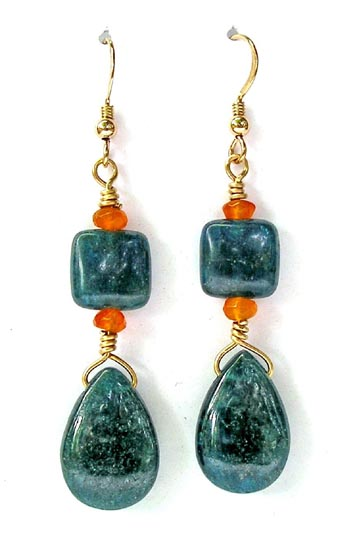Blue Apatite & Orange Carnelian Earrings