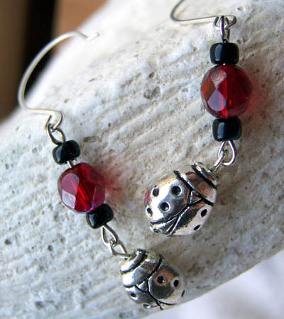 Ladybug Charm Earrings