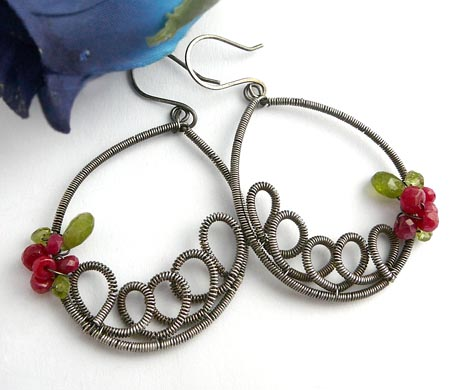 Coiled Wire Ruby Earrings