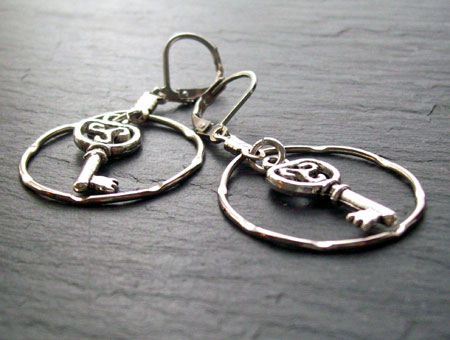 Celtic Skeleton Key Earrings
