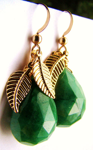 Teardrop Indian Emerald with Gold Plated Leaf Earrings