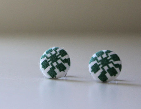 Button Cover Stud Earrings