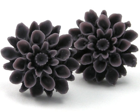 Plum Dahlia Stud Earrings