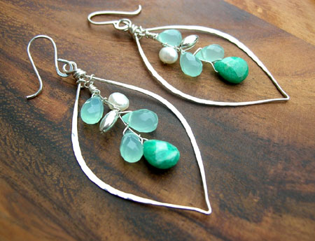 Green Gemstone Leaf Hoops