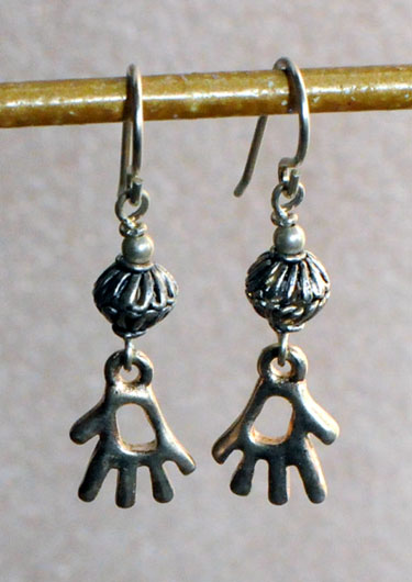 Pewter Petroglyph Hand Earrings