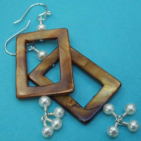 Mother of Pearl Rectangle Dangle Earrings