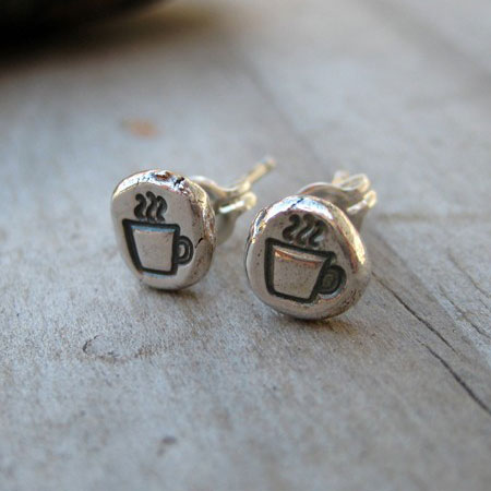 Stamped Coffee Cup Stud Earrings