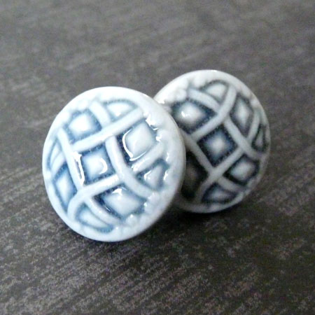 Porcelain Lattice Stud Earrings