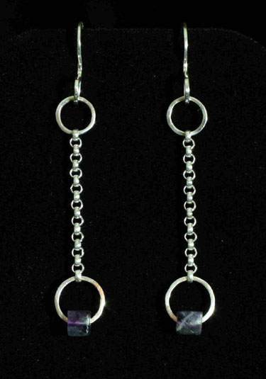 Chained Flourite Dangle Earrings