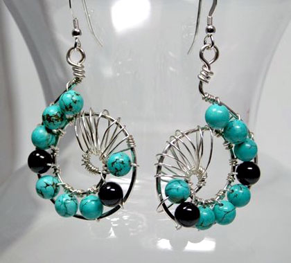 Turquoise Onyx Dangle Earrings