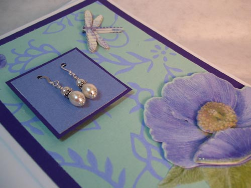 Handmade Card with Pearl Earrings