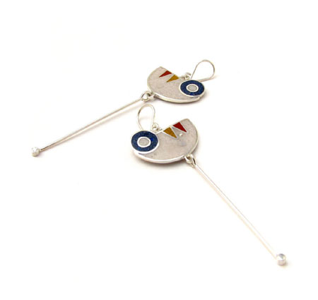 Sterling Silver Pendulum Earrings with Reconstructed Stones