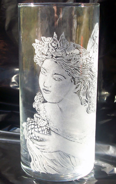 Engraved Fairy Glass Vase