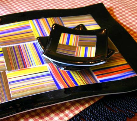 Fused Glass Platter Sushi Set