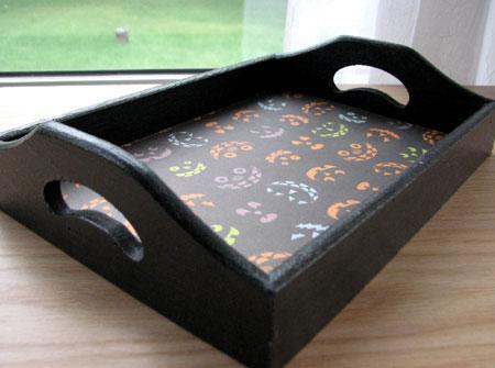 jack o lantern decoupage tray