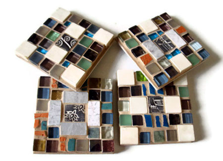 Ceramic and Glass Tile Mosaic Coasters