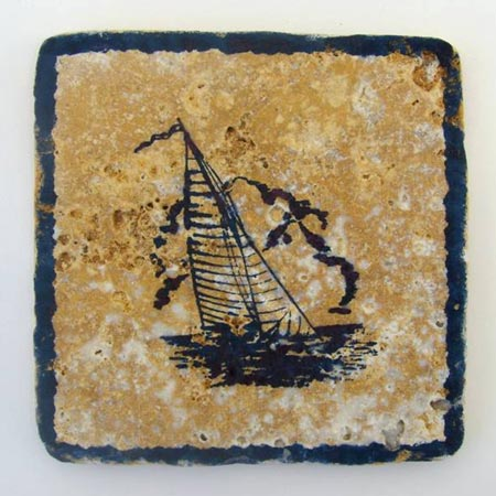 Tumbled Marble Sailboat Coasters