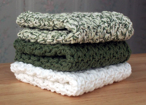 Green & White Crocheted Dish Cloths