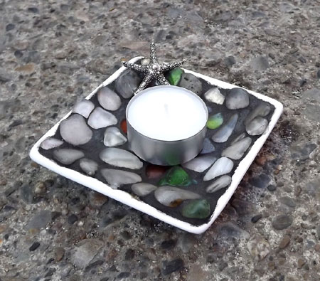 Tumbled Glass Mosaic Votive Dish