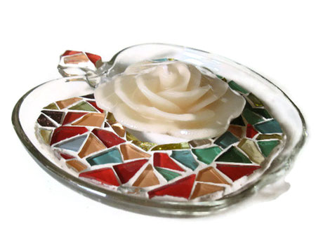Glass Apple Shaped Mosaic Dish