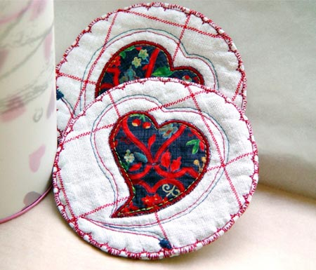 Quilted Heart Coasters