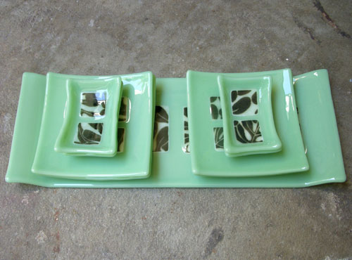 Leaf Pattern Fused Glass Sushi Set