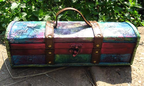 Painted Wooden Wine Box