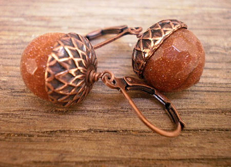 Sunstone Acorn Earrings