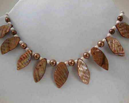 Leaf Shaped Glass Shell Beads Necklace With Fresh Water Pearls