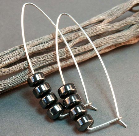Stacked Hematite Beads Earrings