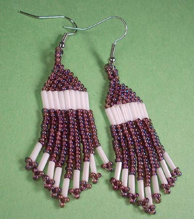 Purple and White Bead Woven Earrings