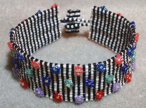 Pinstripes and Flowers Beadwoven Bracelet