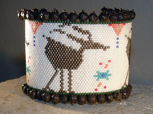 Peyote-Stitched Beaded Antelope Bracelet