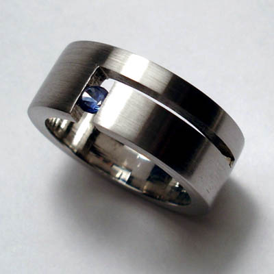 Blue Sapphire Tension Set Ring