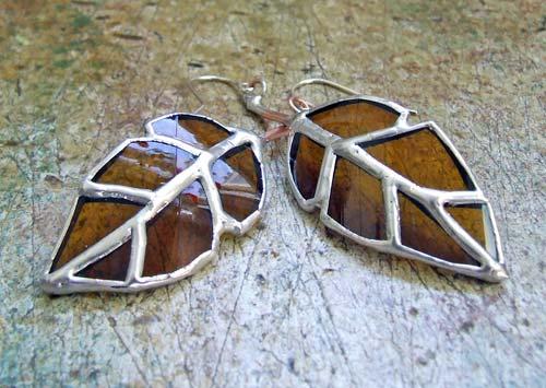 Elm Leaf Bottle Glass Earrings