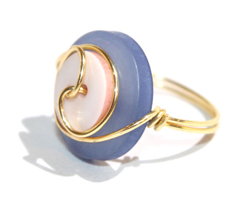 Gold Plated Wrapped Button Ring