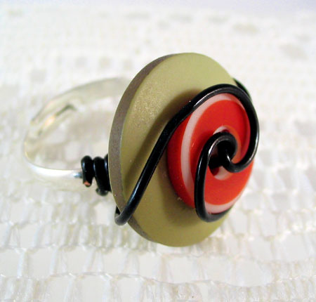 Green and Red Button Ring