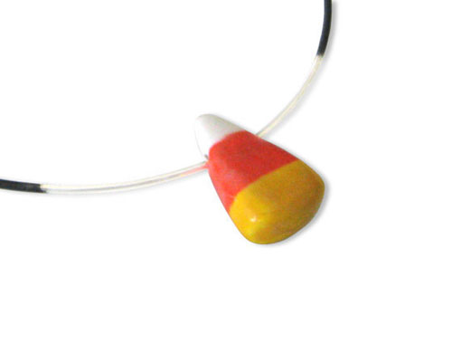 Porcelain Candy Corn on Argentium Silver Necklace
