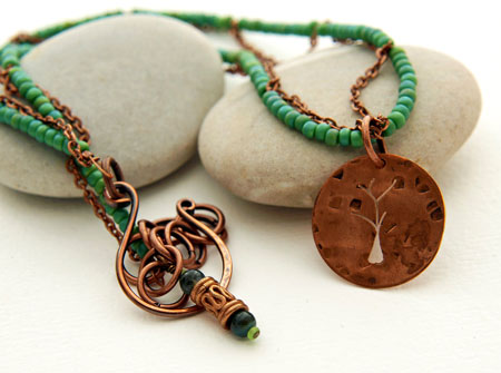 Carved Copper Tree Pendant On A Green Bead Necklace