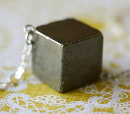 Pyrite Stone Cube Pendant