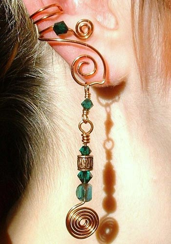 Copper Wire Ear Cuff With Swarovski Dangle