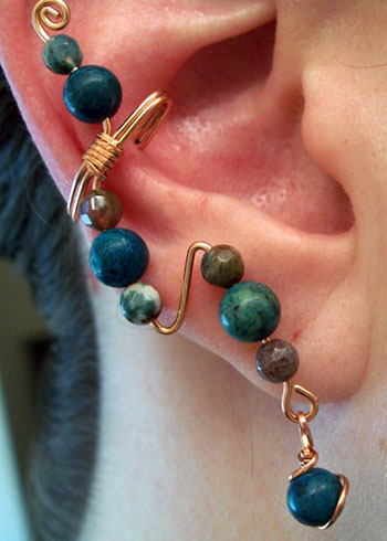 Copper and Turquoise Ear Cuff