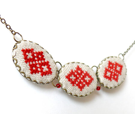 Three Pendant Embroidered Necklace