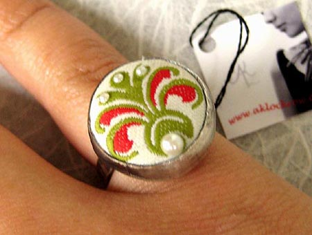 Floral Fabric Button Ring