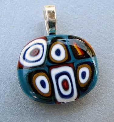 Fused-Glass Kandinsky Style Pendant