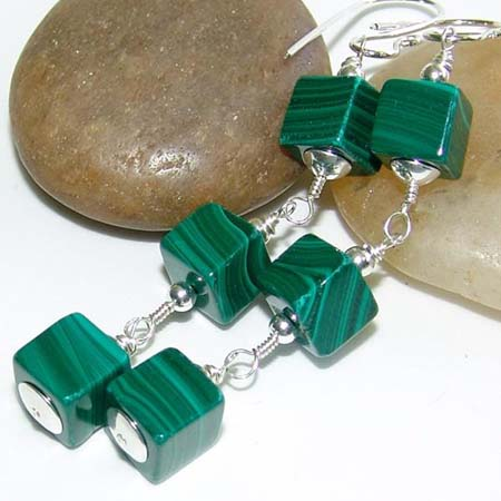 Green Cube Earrings